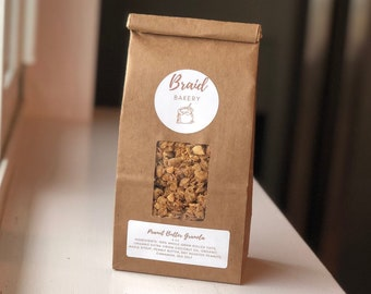Healthy Peanut Butter Granola   Food Gift for Friends, Family, and Kids   8 Ounce Bag   All Natural and Vegan Ingredients