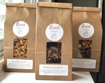 Granola Variety Pack   Three 8 Ounce Bags of Gourmet Granola   Healthy Vegan Snacks Variety Pack   Free Pickup for Pittsburgh Locals