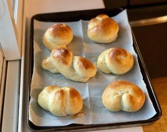 Challah Knots   Homemade Challah Bread Buns   Half Dozen Homemade Rolls