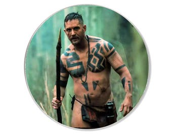 Unique Round Fridge Magnet with a picture of Tom Hardy from the BBC series Taboo