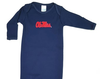 Mississippi Ole Miss Rebels Baby Layette Gown