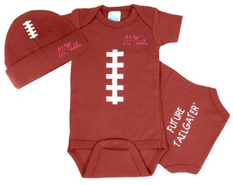 baby girl gift baby shower gift red white and blue baby tutu Mississippi Rebel girl outfit Ole Miss baby girls football bodysuit