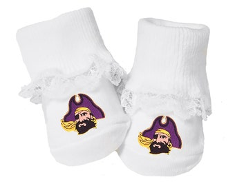 new arrival bea38 b8424 East Carolina Pirates Baby Toe Booties with Lace