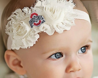 Ohio State Buckeyes Baby/ Toddler Shabby Flower Hair Bow Headband