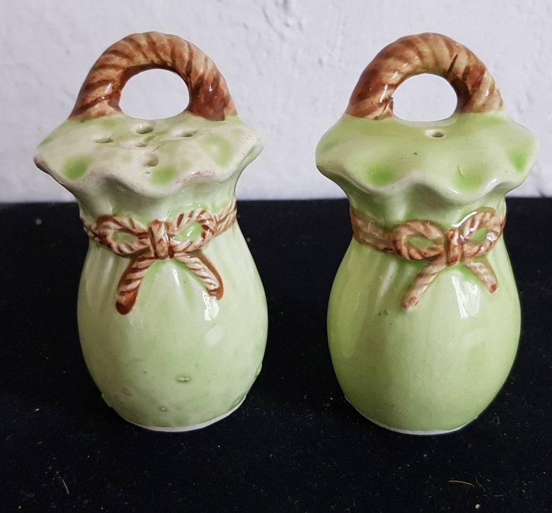Vintage Pale Green Novelty Ceramic Cruet Set