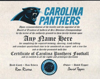 ac2a18c3f CAROLINA PANTHERS ~ 2019 football fan ~certificate ~ diploma ~gift ~sign ~ man  cave ~ office ~ dorm