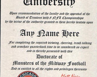Alabama Crimson Tide #1 Fan Custom Diploma Certificate for Man Cave NCAA Novelty