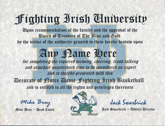 NOTRE DAME FIGHTING IRISH BASKETBALL~ CERTIFICATE ~ DIPLOMA  ~ MAN CAVE