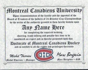 MONTREAL CANADIENS  ~  HOCKEY fan ~certificate ~ diploma ~gift ~sign ~ man cave ~ office ~ dorm