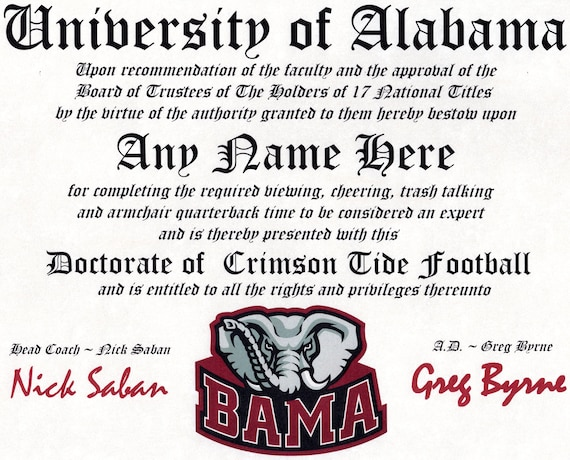 look out for best sale outlet on sale ALABAMA CRIMSON TIDE football fan certificate diploma gift | Etsy