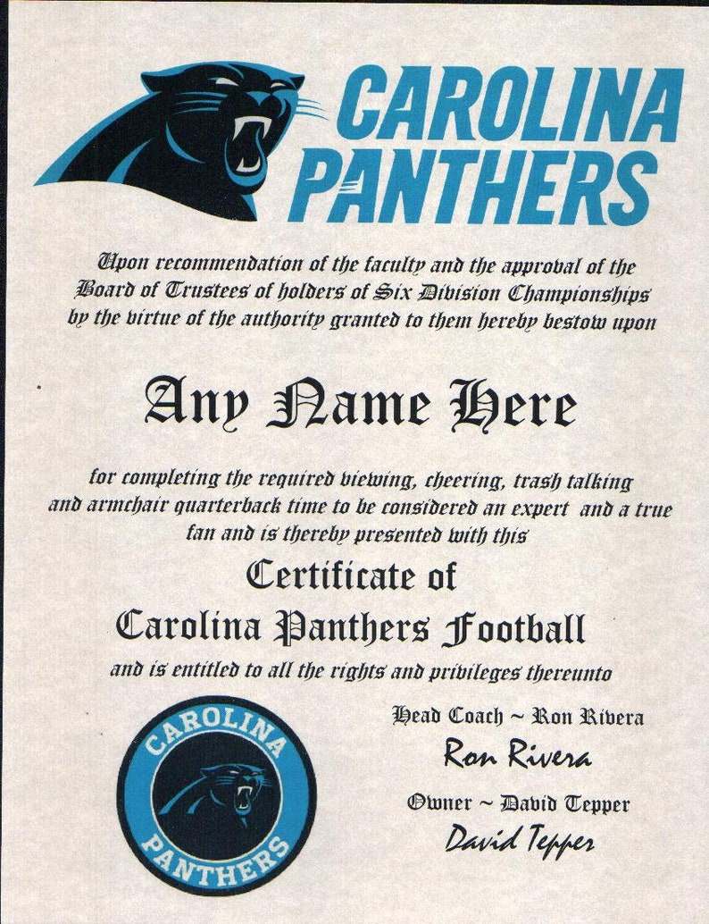 brand new 4e4ea de705 CAROLINA PANTHERS ~ 2019 football fan ~certificate ~ diploma ~gift ~sign ~  man cave ~ office ~ dorm