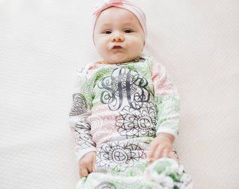 Baby Girl Coming Home Outfit Take Home Outfit Floral Baby Gown Personalized Gown Newborn Infant Clothes