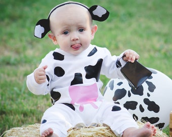 Baby Cow Costume Cow Halloween Outfit Baby Animal Costume Infant Cow Outfit Newborn Farm Animal Costume Barnyard  sc 1 st  Etsy & Newborn cow outfit | Etsy