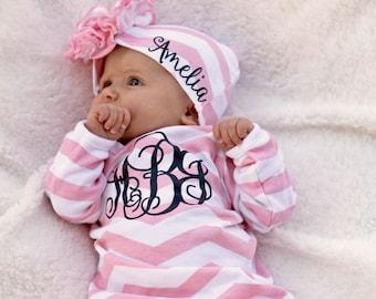 Robe de fille de bébé, bébé fille Coming Home tenue, robe de bébé, vêtements personnalisés pour bébé fille, monogramme tenue de bébé fille