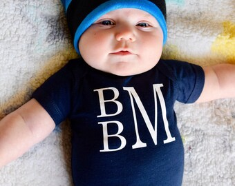 Baby Boy Monogram Outfit, Boys coming home outfit, Boy going home outfit, personalized bodysuit, boys monogram bodysuit, baby boy bodysuit