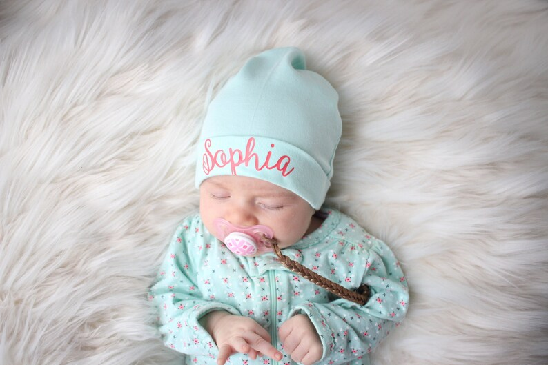 35ed15aa9 Personalized Baby Girl Hat Infant Hat Monogram Baby Beanie Newborn Hospital  Hat Mint Baby Hat Monogrammed Hat Spring Baby Hat Baby Girl Gift