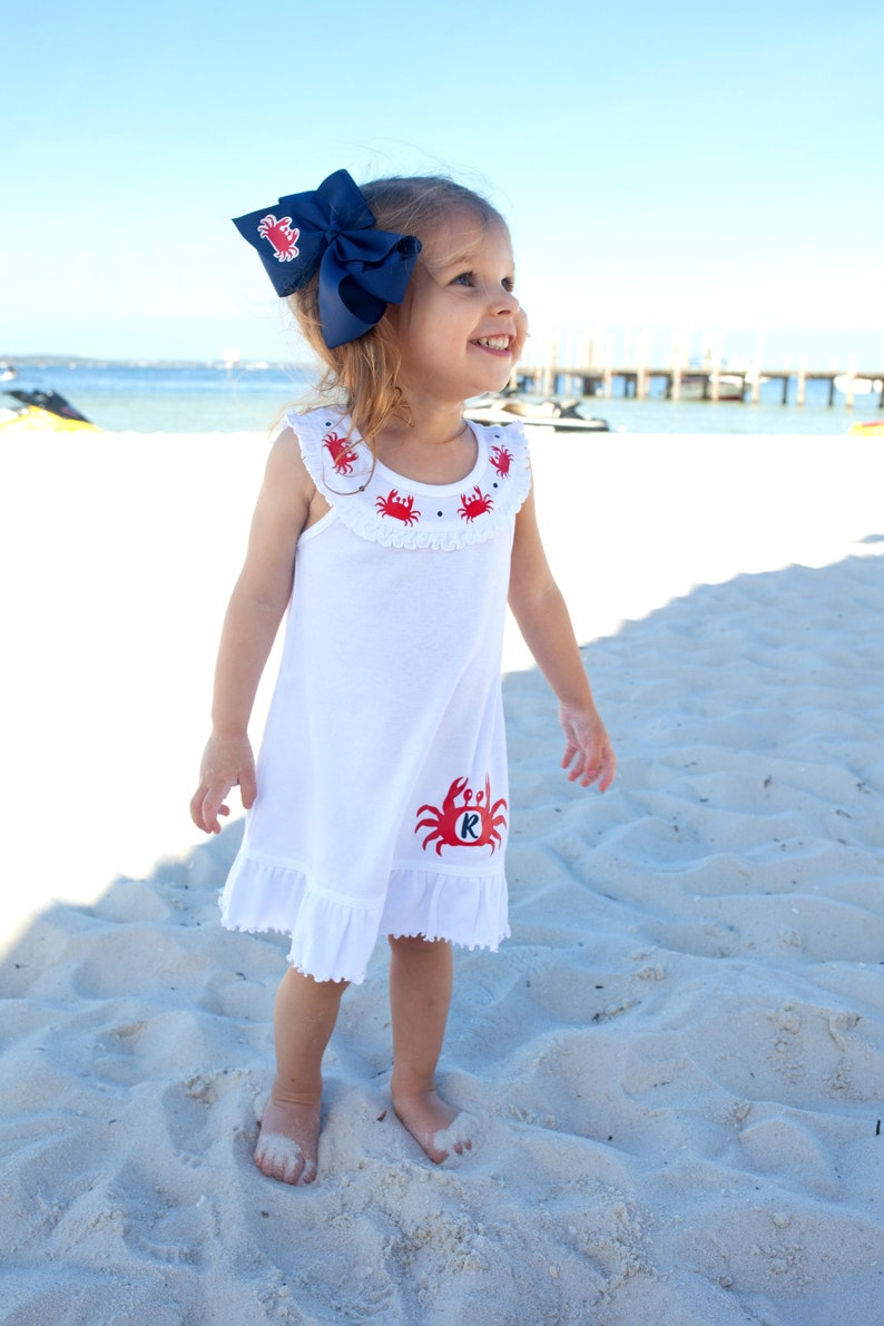 05ff01c68d2 Crab Monogram Dress Girls Spring Dress Toddler Summer Dress