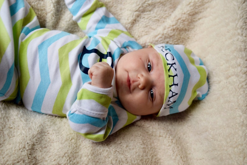 a63fd2a1b47b Boys Coming Home Outfit Baby Boy Gown Set Personalized