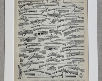 Cannon Print Howitzer Print Guns Print 1895 Original Antique Lithograph Print set of 2 vintage print steampunk print