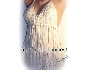 c68c3bdd1ae46 Fringe Festival Crochet Halter Top Your Size and Color Music Festival Wear