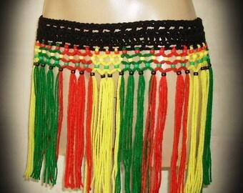 3d866b8c42 Festive Rasta Fringe Belt Skirt Festival Wear, Swimsuit Cover up, Tribal,  Hippie, Hooping and Dance Wear