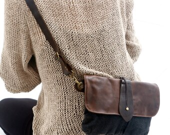 Black Big Leather and Canvas Hip Bag - Fanny Pack - Traveler Bag - Utility Hip Belt - Hip Pouch -cross body