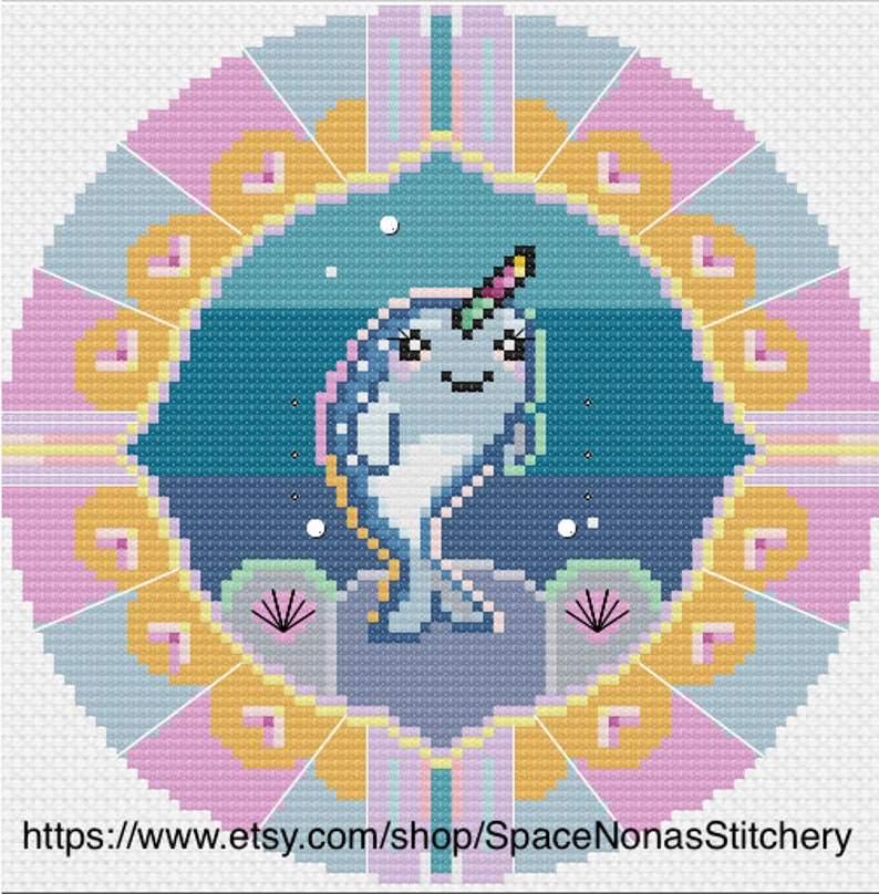 Downloadable PDF Baby Narwhal Cross Stitch Pattern