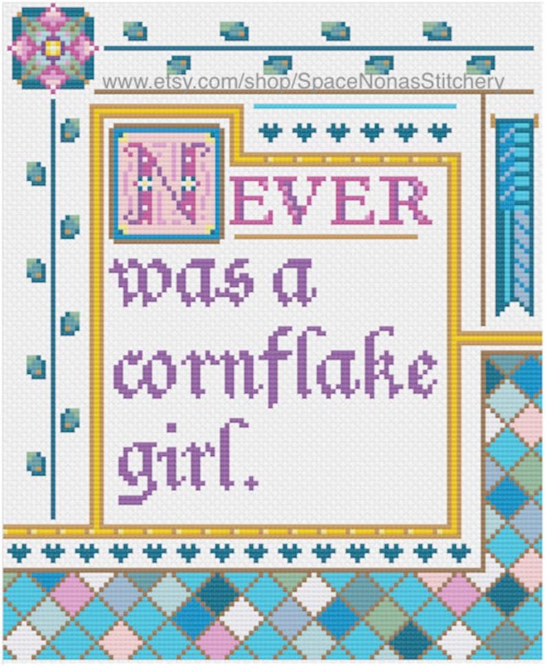Downloadable PDF Cornflake Girl Cross Stitch Pattern