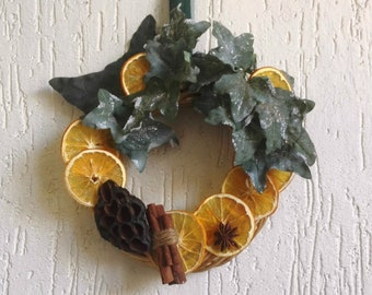 Italian design Holiday wreath, elegant Christmas decor with dried orange, refined gift to professional, xmas home decorating, teacher gift