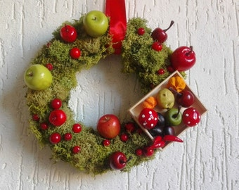 Italian moss and fruits Holiday wall decor, funny gift to vegetarian friend, Italian design Christmas decor, non religious teacher gift