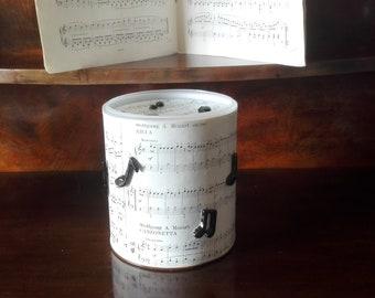 Music themed money box, pianoforte fund box, piggy bank for teenagers, music teacher gift, music student gift, musical instrument saving jar