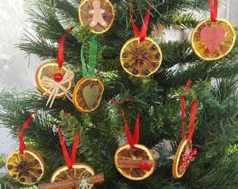 Set of 3 dried fruit Christmas tree decor, natural tree Christmas ornaments, Holiday orange fruit decors, dried apple Christmas tree decors