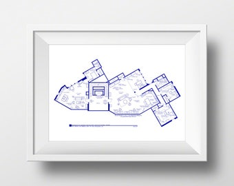 Stunning fictional famous tv show floor plans by tvfloorplans the big bang theory art print tv show apartment floor plan minimalist wall art blueprint for home of sheldon leonard and penny malvernweather Images