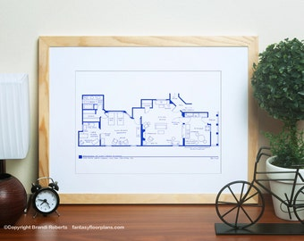 I love lucy tv show apartment floor plan blueprint poster i love lucy 2nd apartment floor plan famous tv show floor plan blueprint for nyc apartment of lucy and ricky ricardo architecture art malvernweather Gallery