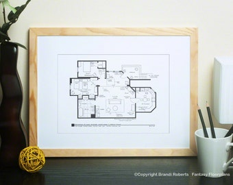 Threes company tv show blueprint poster floor plan for etsy threes company tv show floor plan for apartment of jack tripper janet wood chrissy snow blackline art print architectural art malvernweather Images