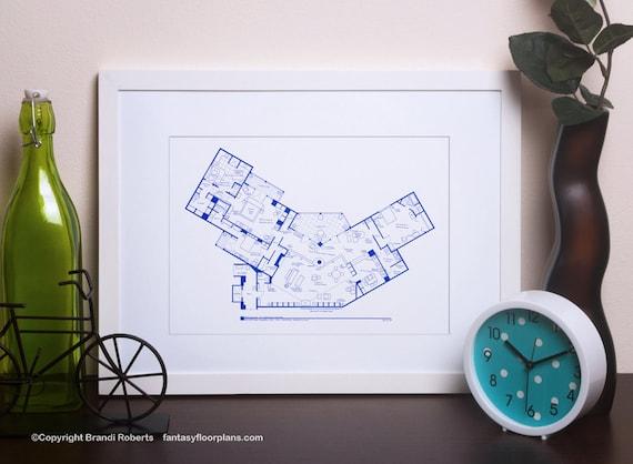 Frasier apartment poster tv show floor plan blueprint art etsy image 0 malvernweather Gallery