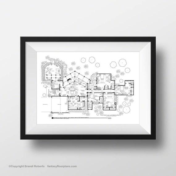 Golden Girls House Floor Plan Hand Drawn Art Poster For Tv Etsy,2 Bedroom House Plans With Basement