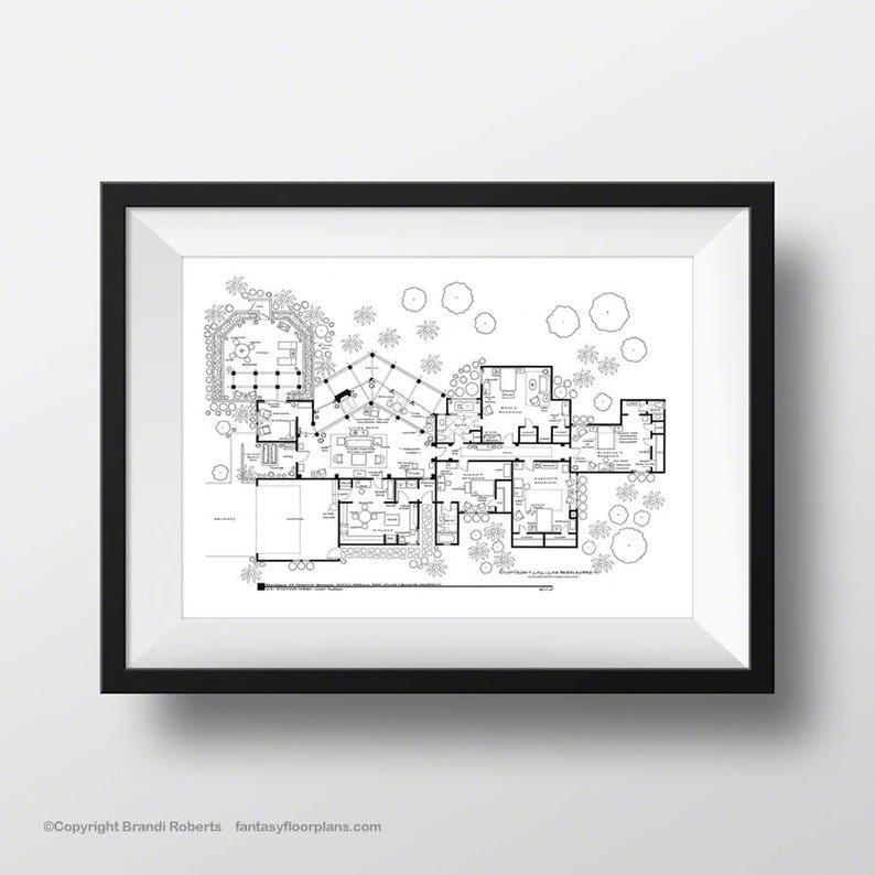Golden Girls House Floor Plan  Hand-Drawn Art  Poster for TV image 0