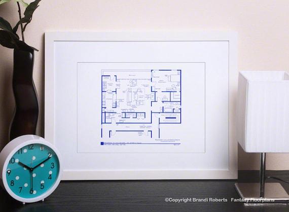 don draper apartment floor plan poster art mad men blue etsy. Black Bedroom Furniture Sets. Home Design Ideas