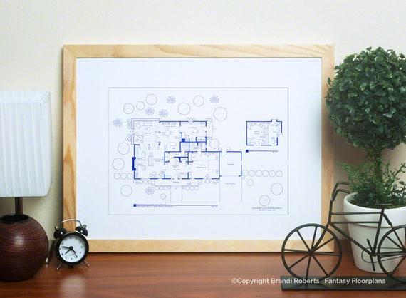 I Dream Of Jeannie House Floor Plan Major Tony Nelson S Etsy