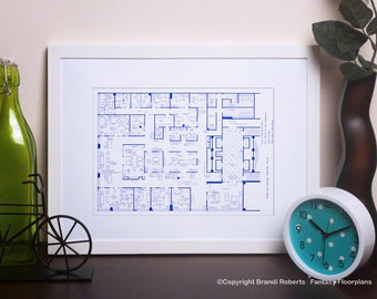 Mad Men - TV Show Floor Plan - BluePrint Poster Art for Offices of Sterling Cooper Draper Pryce - 37th Floor **Featured on NBC's Today Show