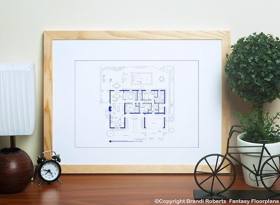 Cuscini Breaking Bad.Breaking Bad House Floor Plan Poster Fictional Blueprint For Etsy