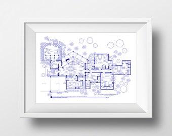 Golden Girls Gift - Golden Girls Poster - Fictional Hand-drawn Blueprint for Golden Girls Home - As Seen on NBC's Today Show!