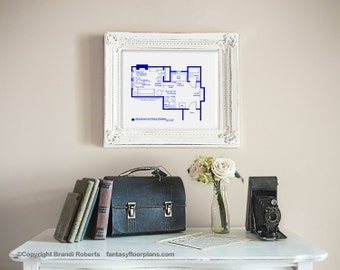 Friends tv show floor plan blueprint art for apartment of rocky balboa poster wall decor tv show floor plan blueprint art apartment of malvernweather Gallery