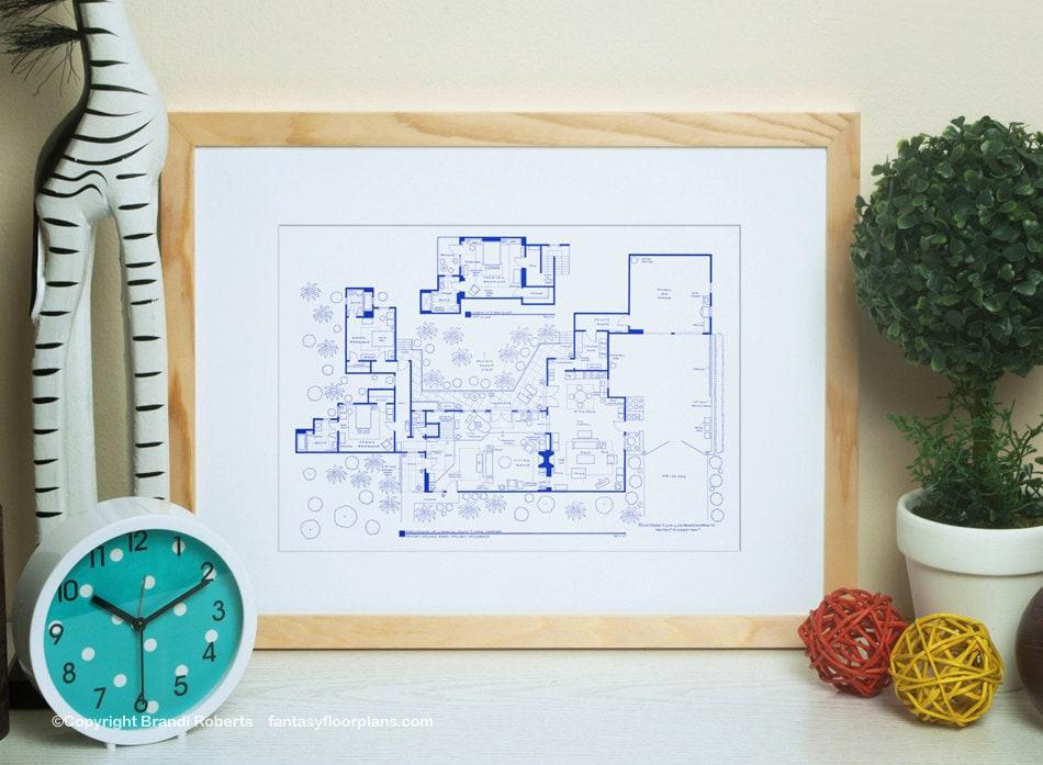 Charlie Harper Home Floor Plan Blueprint Poster For Home Of Etsy