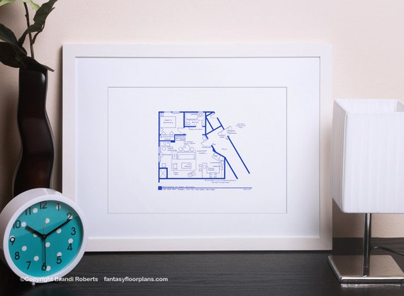 Seinfeld apartment layout tv show floor plan blueprint etsy image 0 malvernweather Choice Image