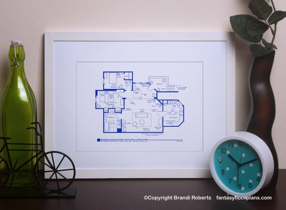 Threes company tv show blueprint poster floor plan for etsy image 0 malvernweather Images