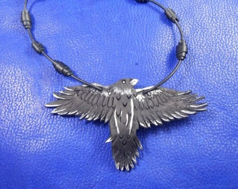 Leather necklace Flying raven, leather pendant raven, leather raven, mens pendant necklace, womens necklace, leather black raven pendant,