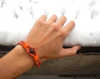 Orange braided leather bracelet with Garnet, braided leather bracelet, leather bracelet, thin leather bracelet,