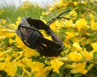 Brown braided leather bracelet Daedal, leather bracelet, mens leather bracelet, braided leather bracelet, braided leather bracelet for women